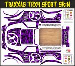 PURPLE Gothic Skullz themed vinyl SKIN Kit & Stickers To Fit Traxxas TRX4 Sport R/C Rock Crawler